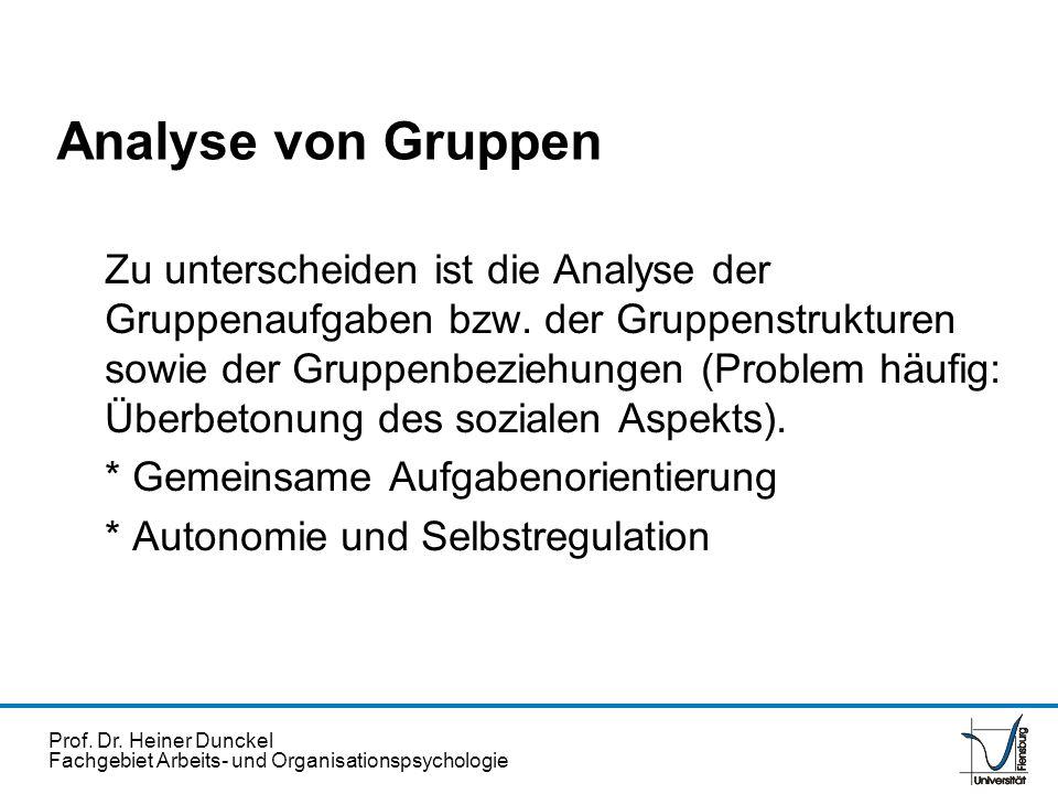 Prof. Dr. Heiner Dunckel Fachgebiet Arbeits- und Organisationspsychologie Analyse von Gruppen Zu unterscheiden ist die Analyse der Gruppenaufgaben bzw