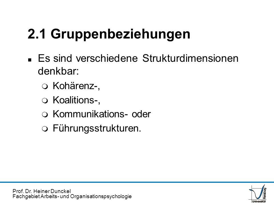Prof. Dr. Heiner Dunckel Fachgebiet Arbeits- und Organisationspsychologie 2.1 Gruppenbeziehungen n Es sind verschiedene Strukturdimensionen denkbar: m