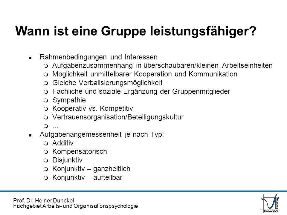 Prof. Dr. Heiner Dunckel Fachgebiet Arbeits- und Organisationspsychologie n Rahmenbedingungen und Interessen m Aufgabenzusammenhang in überschaubaren/