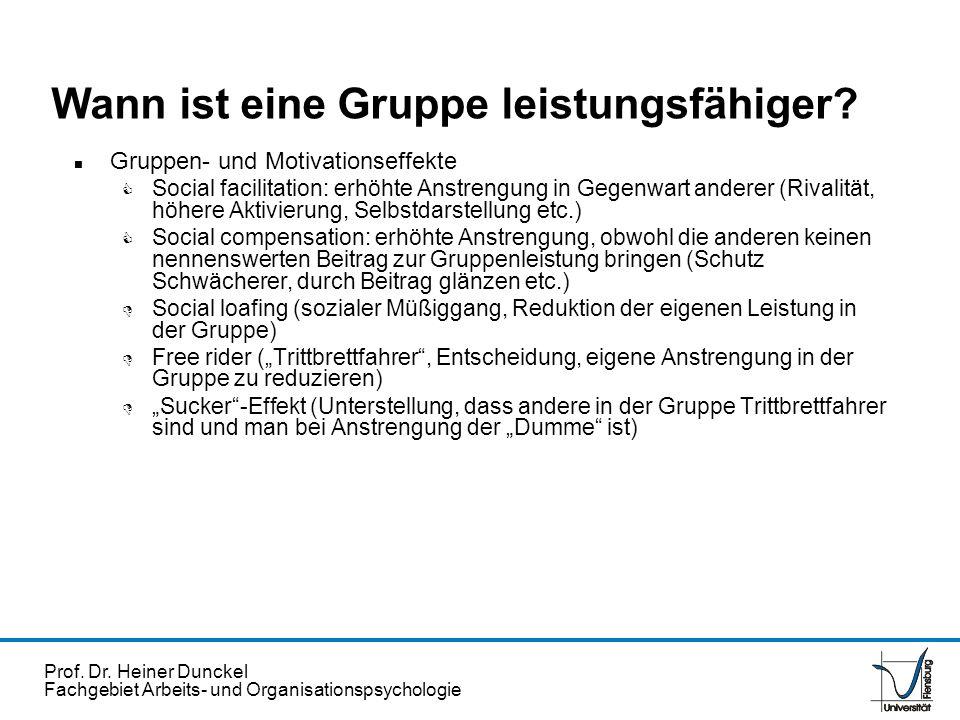 Prof. Dr. Heiner Dunckel Fachgebiet Arbeits- und Organisationspsychologie n Gruppen- und Motivationseffekte C Social facilitation: erhöhte Anstrengung