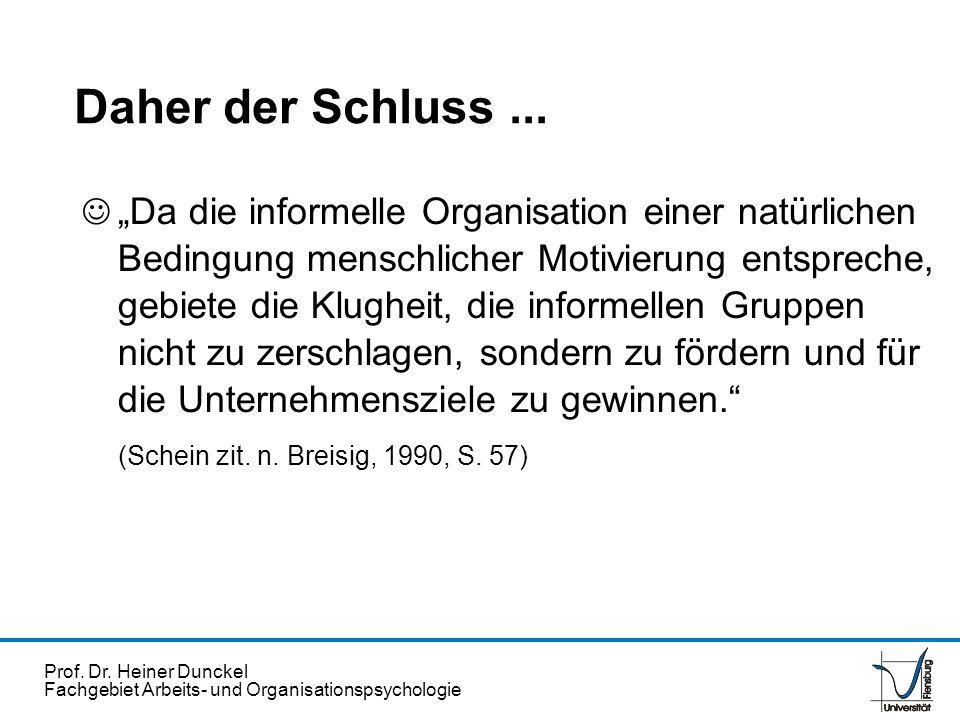 Prof. Dr. Heiner Dunckel Fachgebiet Arbeits- und Organisationspsychologie Daher der Schluss... Da die informelle Organisation einer natürlichen Beding