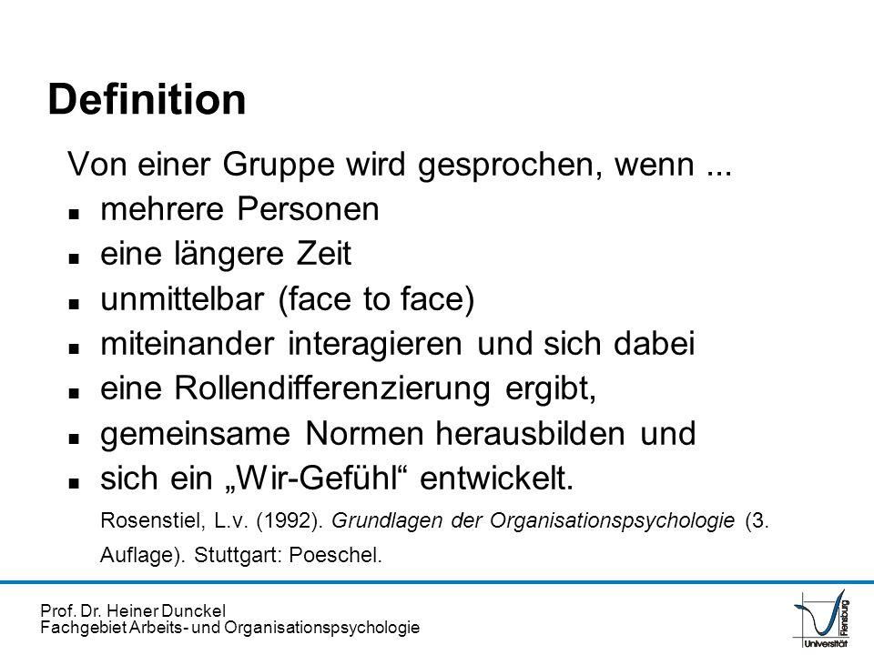 Prof. Dr. Heiner Dunckel Fachgebiet Arbeits- und Organisationspsychologie Von einer Gruppe wird gesprochen, wenn... n mehrere Personen n eine längere