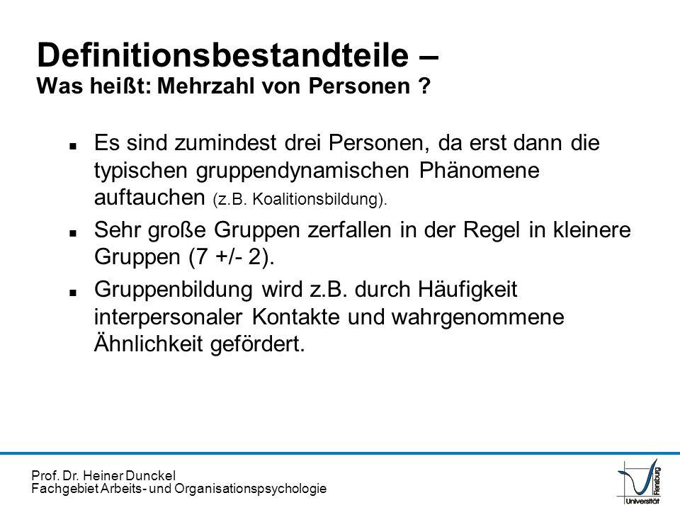 Prof. Dr. Heiner Dunckel Fachgebiet Arbeits- und Organisationspsychologie Definitionsbestandteile – Was heißt: Mehrzahl von Personen ? n Es sind zumin