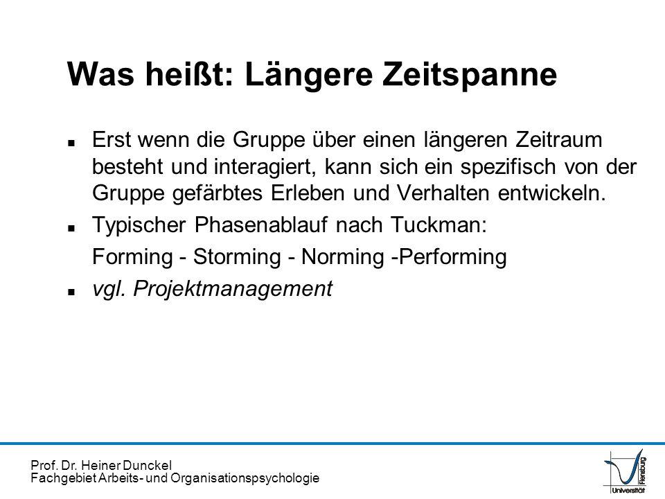 Prof. Dr. Heiner Dunckel Fachgebiet Arbeits- und Organisationspsychologie Was heißt: Längere Zeitspanne n Erst wenn die Gruppe über einen längeren Zei