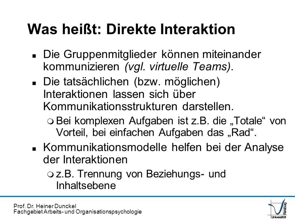 Prof. Dr. Heiner Dunckel Fachgebiet Arbeits- und Organisationspsychologie Was heißt: Direkte Interaktion n Die Gruppenmitglieder können miteinander ko