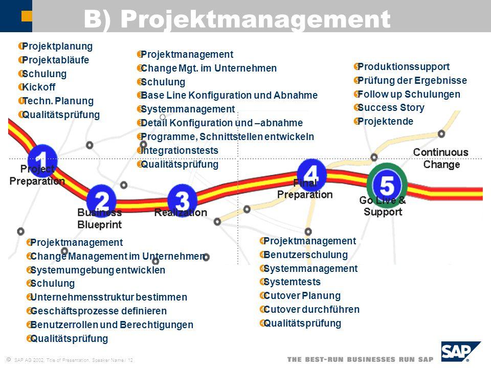 SAP AG 2002, Title of Presentation, Speaker Name / 12 B) Projektmanagement Projektplanung Projektabläufe Schulung Kickoff Techn. Planung Qualitätsprüf