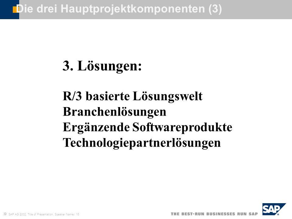 SAP AG 2002, Title of Presentation, Speaker Name / 16 Die drei Hauptprojektkomponenten (3) 3. Lösungen: R/3 basierte Lösungswelt Branchenlösungen Ergä