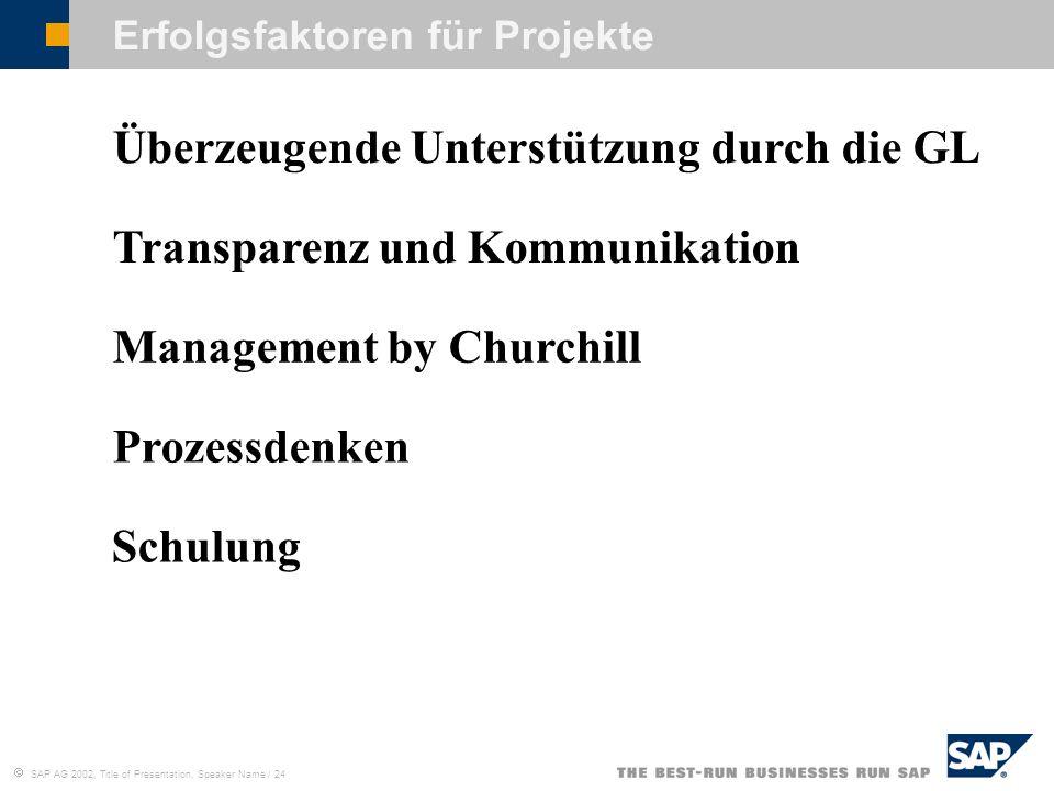 SAP AG 2002, Title of Presentation, Speaker Name / 24 Erfolgsfaktoren für Projekte Überzeugende Unterstützung durch die GL Transparenz und Kommunikati