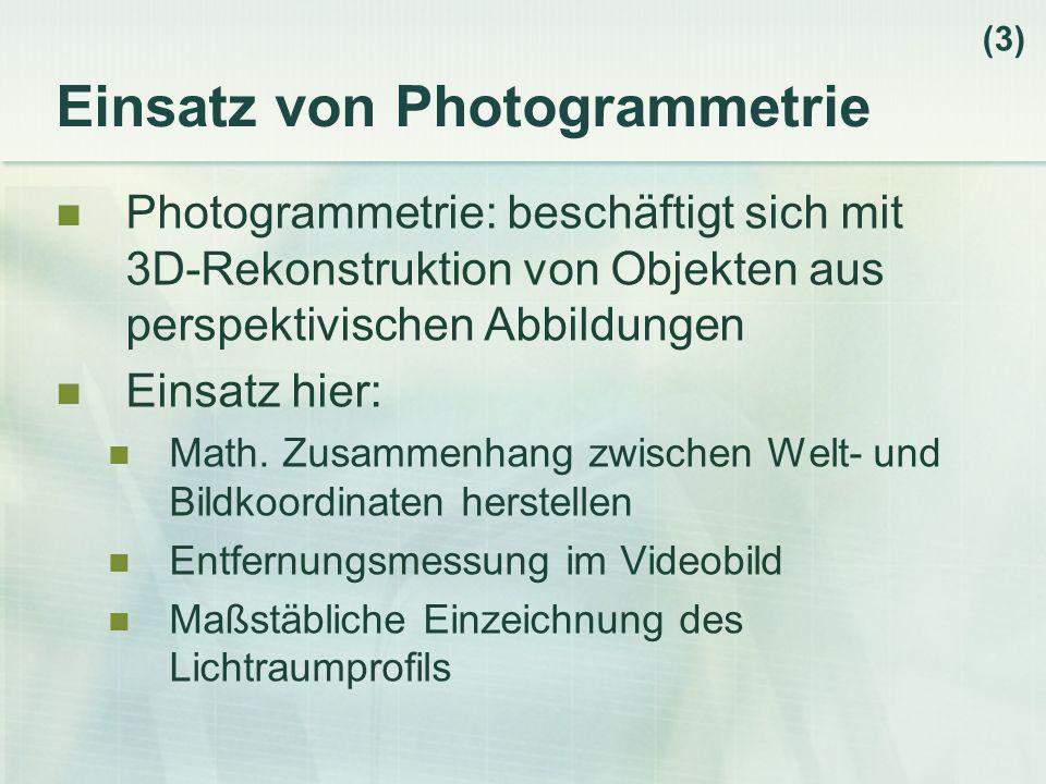 Einsatz von Photogrammetrie Photogrammetrie: beschäftigt sich mit 3D-Rekonstruktion von Objekten aus perspektivischen Abbildungen Einsatz hier: Math.