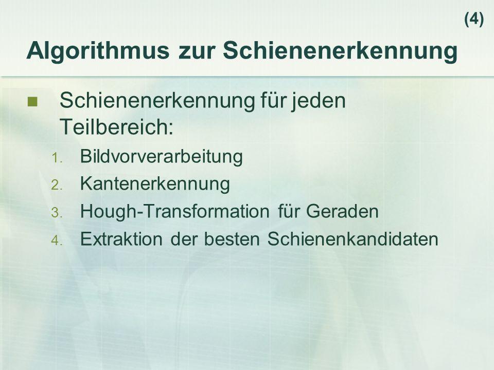 Algorithmus zur Schienenerkennung Schienenerkennung für jeden Teilbereich: 1.