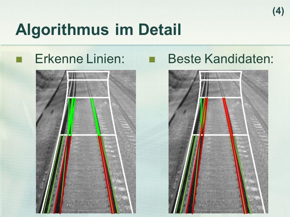 Algorithmus im Detail Erkenne Linien: (4) Beste Kandidaten: