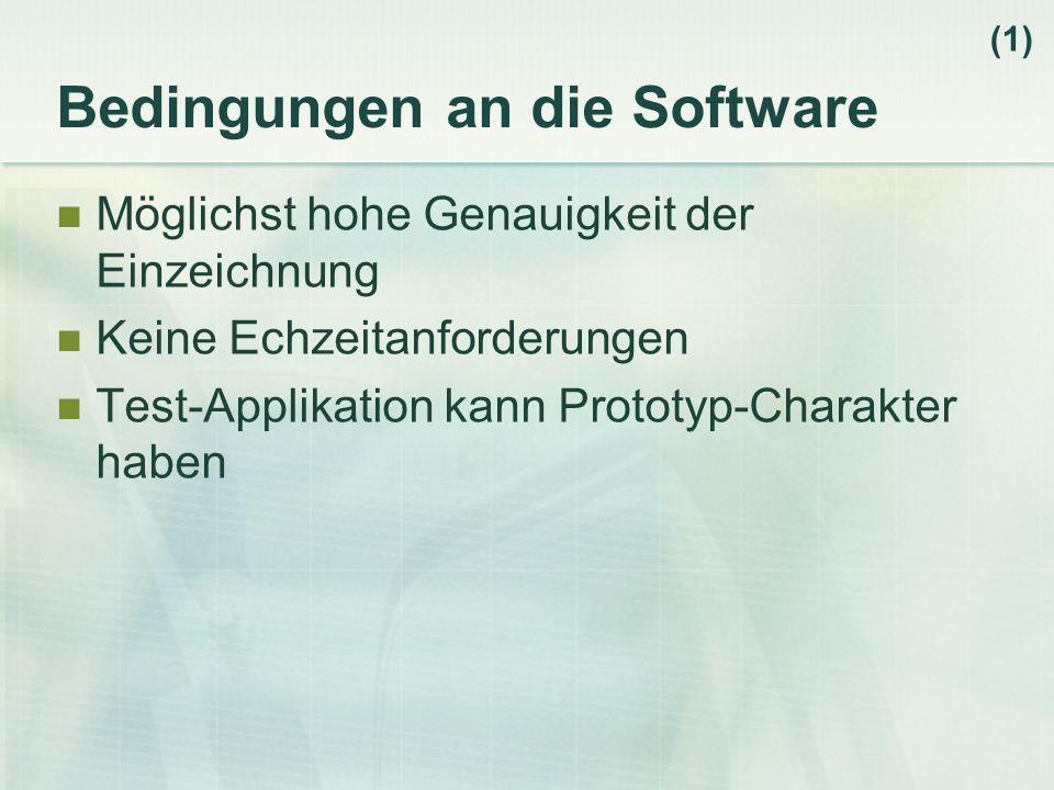 Bedingungen an die Software Möglichst hohe Genauigkeit der Einzeichnung Keine Echzeitanforderungen Test-Applikation kann Prototyp-Charakter haben (1)