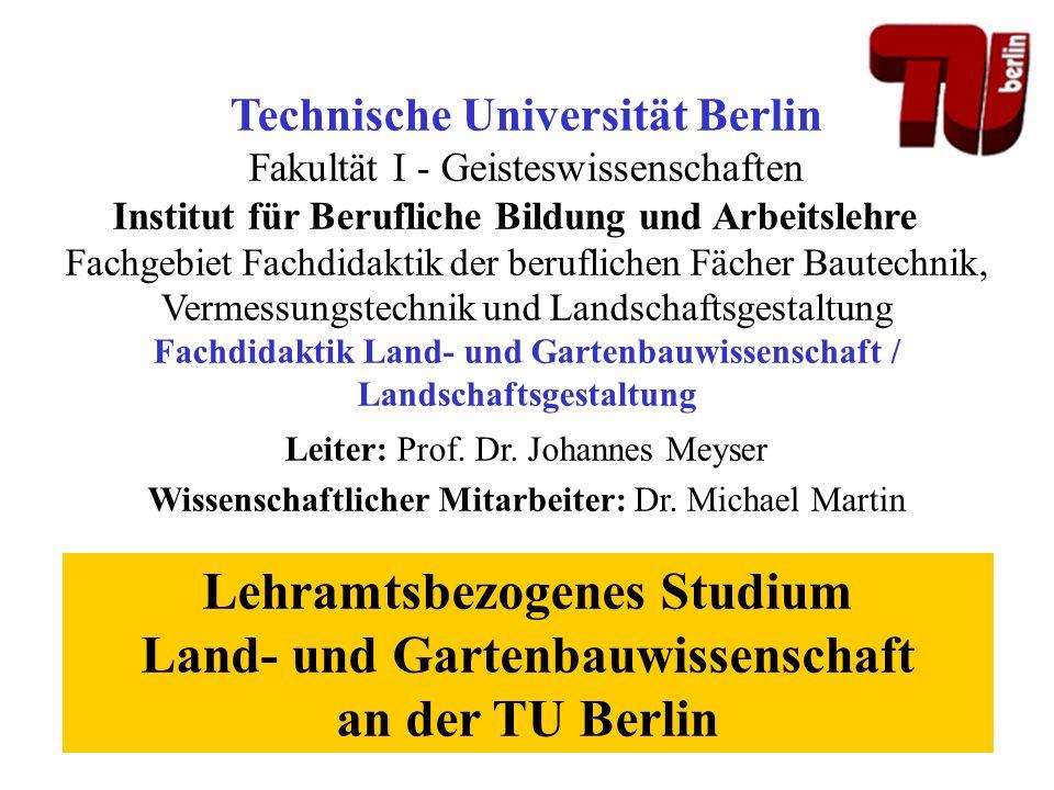 Technische Universität Berlin Fakultät I - Geisteswissenschaften Institut für Berufliche Bildung und Arbeitslehre Fachgebiet Fachdidaktik der beruflic