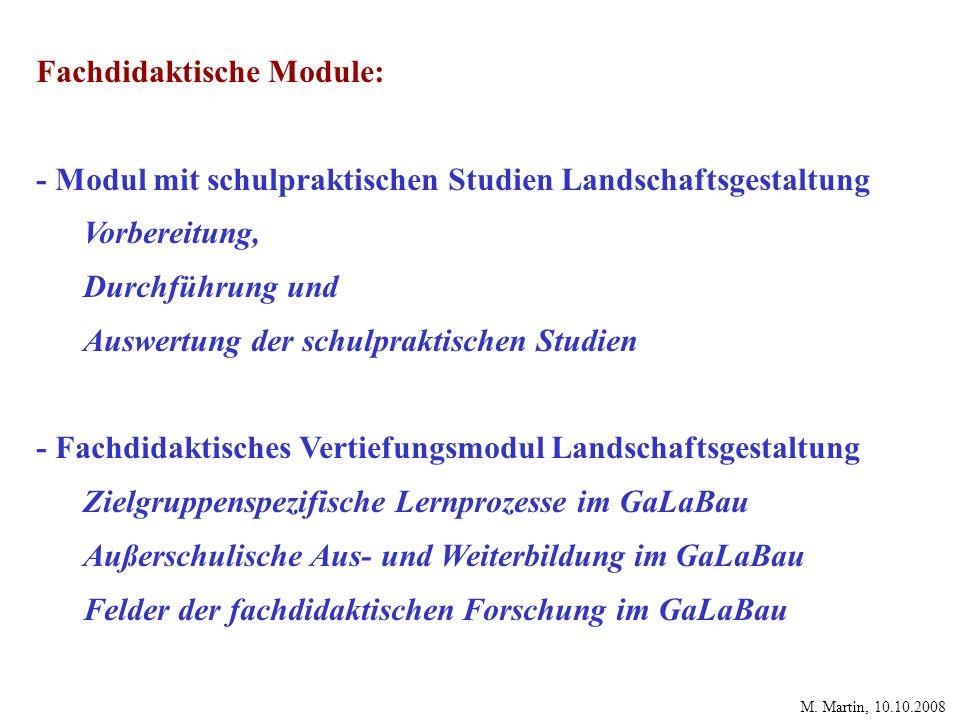 Fachdidaktische Module: - Modul mit schulpraktischen Studien Landschaftsgestaltung Vorbereitung, Durchführung und Auswertung der schulpraktischen Stud