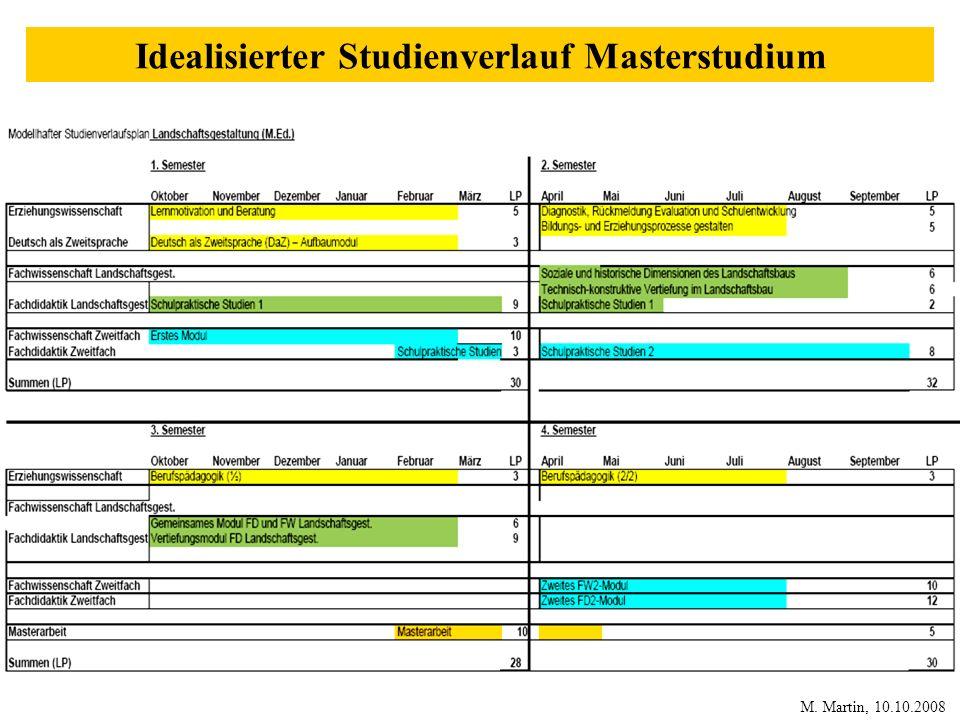 Idealisierter Studienverlauf Masterstudium M. Martin, 10.10.2008