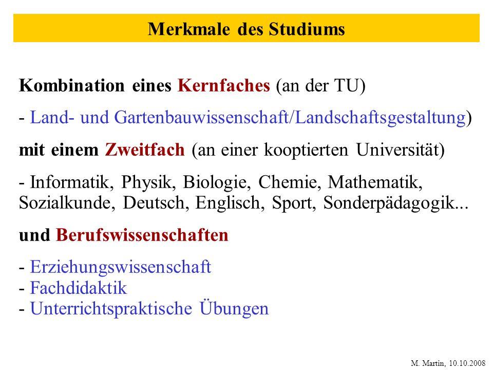 Kombination eines Kernfaches (an der TU) - Land- und Gartenbauwissenschaft/Landschaftsgestaltung) mit einem Zweitfach (an einer kooptierten Universitä