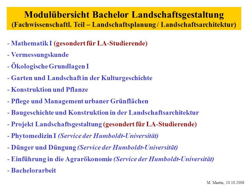 Modulübersicht Bachelor Landschaftsgestaltung (Fachwissenschaftl. Teil – Landschaftsplanung / Landschaftsarchitektur) - Mathematik I (gesondert für LA