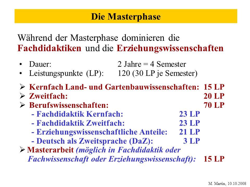 Die Masterphase Während der Masterphase dominieren die Fachdidaktiken und die Erziehungswissenschaften Dauer: 2 Jahre = 4 Semester Leistungspunkte (LP