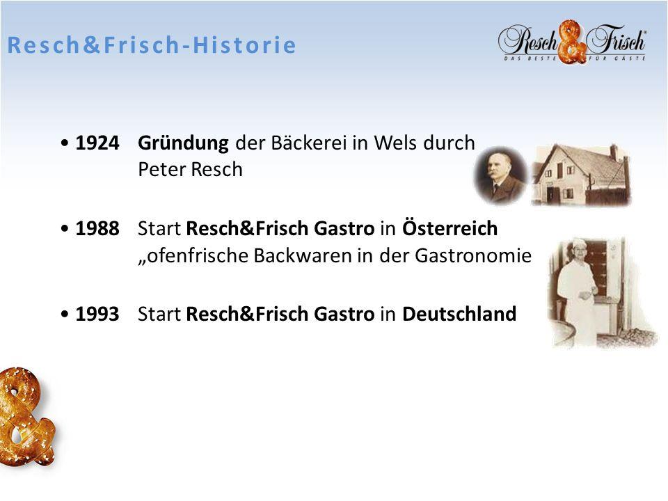 Resch&Frisch-Historie 1924Gründung der Bäckerei in Wels durch Peter Resch 1988Start Resch&Frisch Gastro in Österreich ofenfrische Backwaren in der Gas