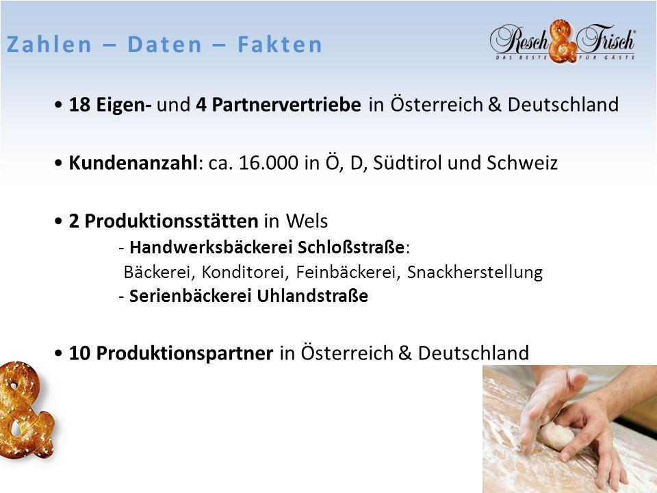 18 Eigen- und 4 Partnervertriebe in Österreich & Deutschland Kundenanzahl: ca. 16.000 in Ö, D, Südtirol und Schweiz 2 Produktionsstätten in Wels - Han