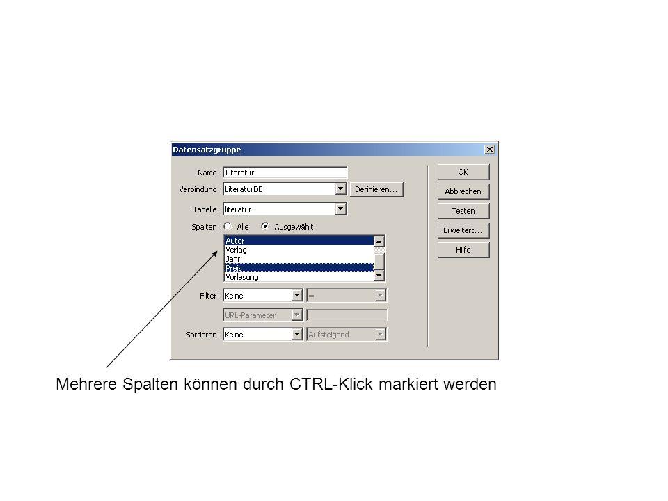 Mehrere Spalten können durch CTRL-Klick markiert werden