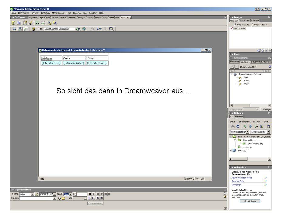 So sieht das dann in Dreamweaver aus...
