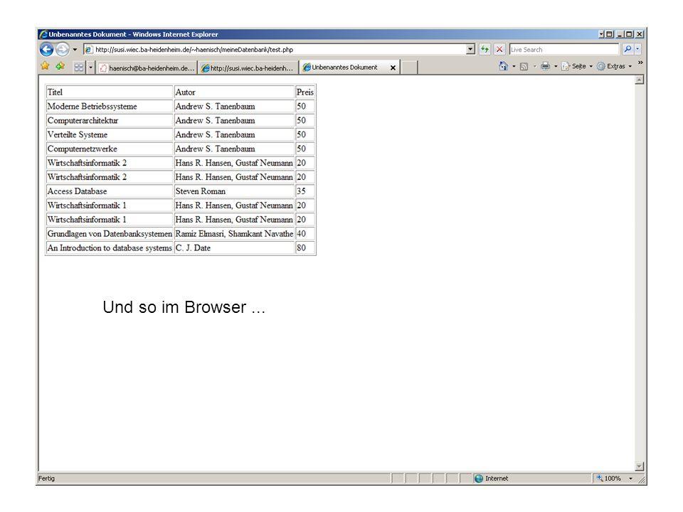 Und so im Browser...