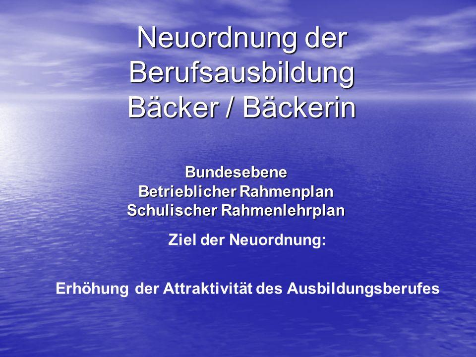 Neuordnung der Berufsausbildung Bäcker / Bäckerin Bundesebene Betrieblicher Rahmenplan Schulischer Rahmenlehrplan Ziel der Neuordnung: Erhöhung der At
