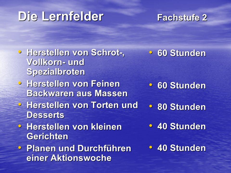 Die Lernfelder Fachstufe 2 Herstellen von Schrot-, Vollkorn- und Spezialbroten Herstellen von Schrot-, Vollkorn- und Spezialbroten Herstellen von Fein