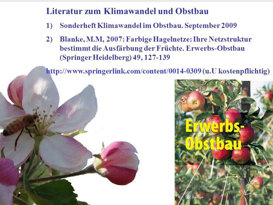 Dr. Michael Blanke, Universität Bonn- Obstbau im Klimawandel Goethe Institut Bihac 24 März 2011 20 Literatur zum Klimawandel und Obstbau 1)Sonderheft