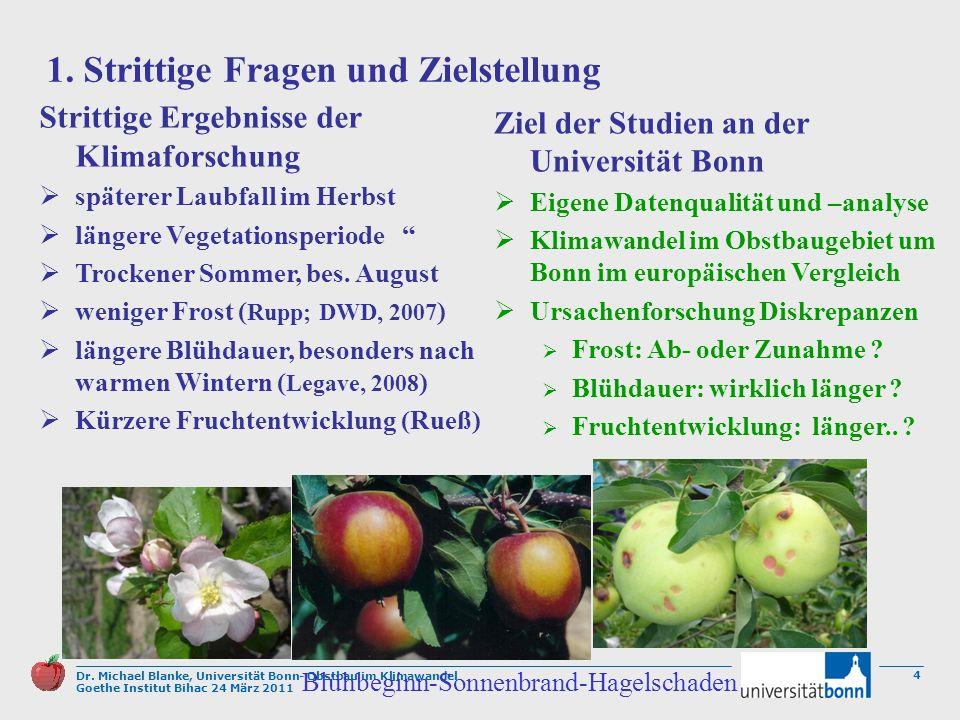 Dr. Michael Blanke, Universität Bonn- Obstbau im Klimawandel Goethe Institut Bihac 24 März 2011 4 1. Strittige Fragen und Zielstellung Strittige Ergeb