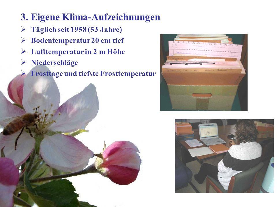 Dr. Michael Blanke, Universität Bonn- Obstbau im Klimawandel Goethe Institut Bihac 24 März 2011 6 3. Eigene Klima-Aufzeichnungen Täglich seit 1958 (53