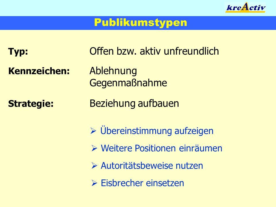 Publikumstypen Typ: Offen bzw. aktiv unfreundlich Übereinstimmung aufzeigen Weitere Positionen einräumen Autoritätsbeweise nutzen Kennzeichen: Ablehnu