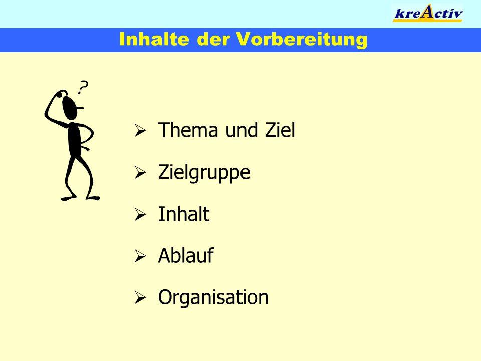 Inhalte der Vorbereitung Thema und Ziel Zielgruppe Inhalt Ablauf Organisation