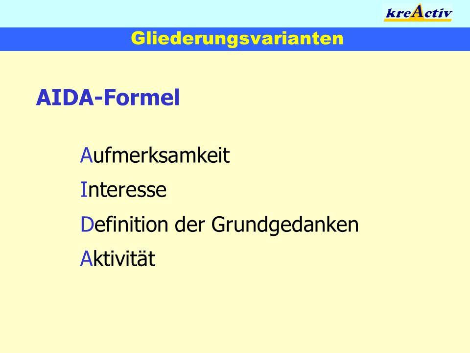 Gliederungsvarianten AIDA-Formel Aufmerksamkeit Interesse Definition der Grundgedanken Aktivität