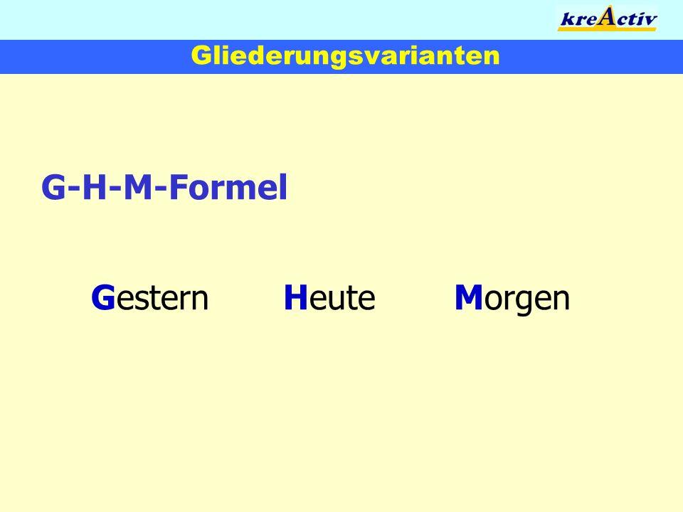 Gliederungsvarianten G-H-M-Formel GesternHeuteMorgen