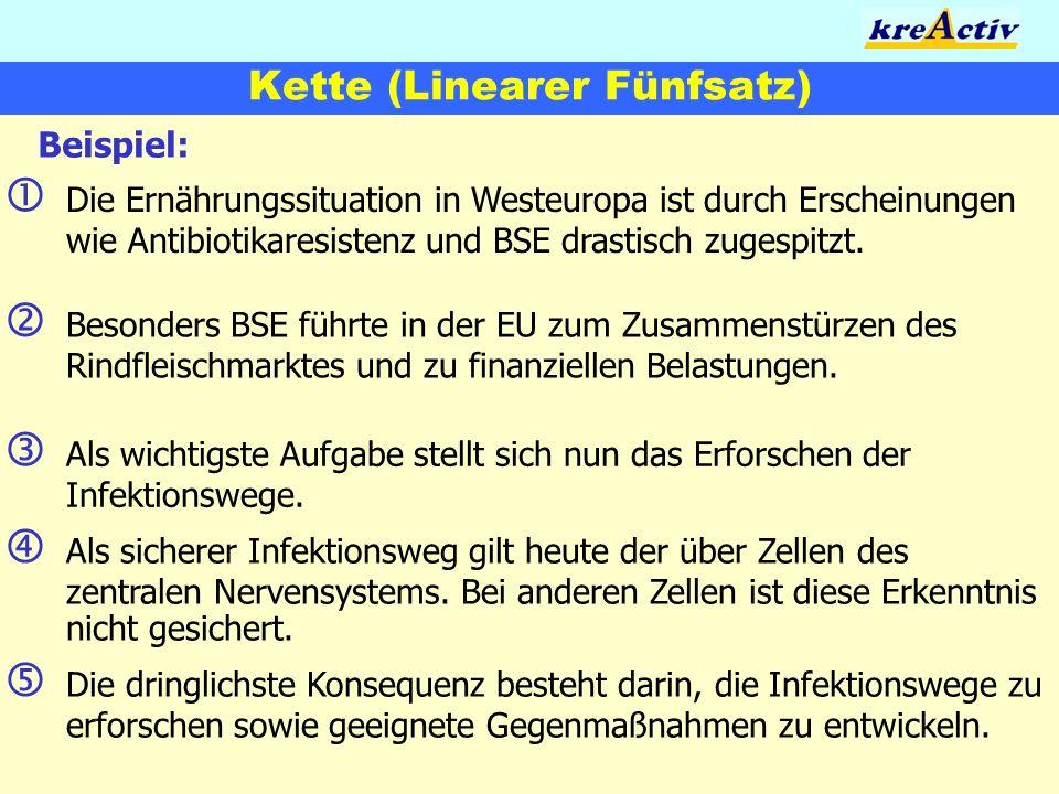 Kette (Linearer Fünfsatz) Beispiel: Die Ernährungssituation in Westeuropa ist durch Erscheinungen wie Antibiotikaresistenz und BSE drastisch zugespitz