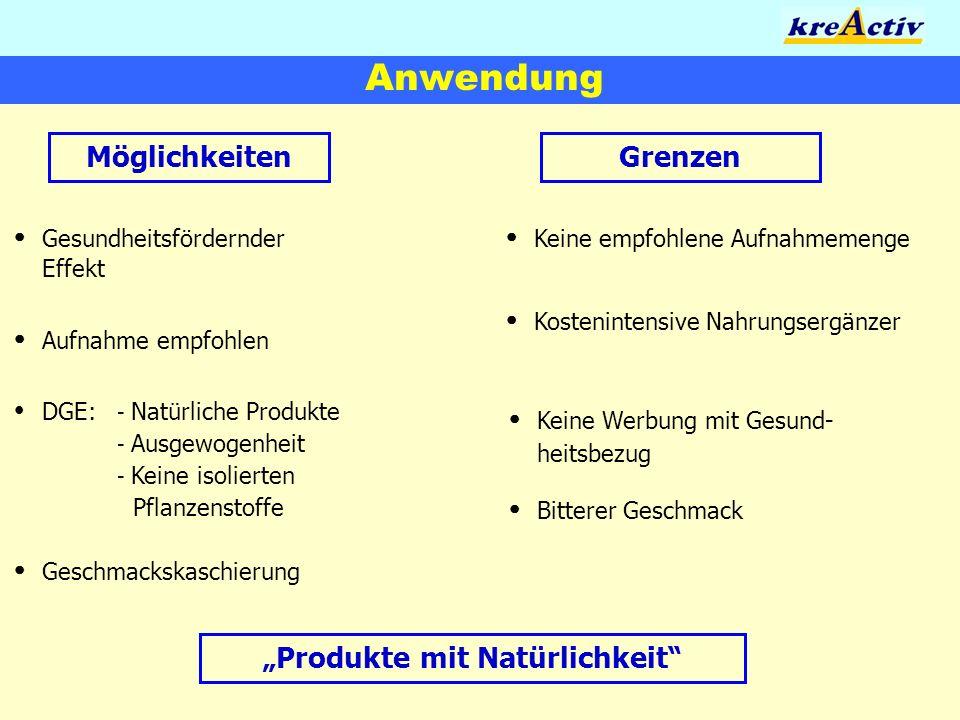 Anwendung MöglichkeitenGrenzen Gesundheitsfördernder Effekt Aufnahme empfohlen DGE: - Natürliche Produkte - Ausgewogenheit - Keine isolierten Pflanzen