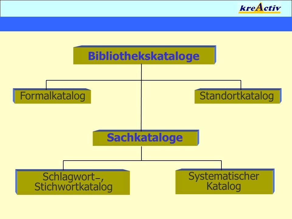 Bibliothekskataloge FormalkatalogStandortkatalog Sachkataloge Schlagwort, Stichwortkatalog Systematischer Katalog
