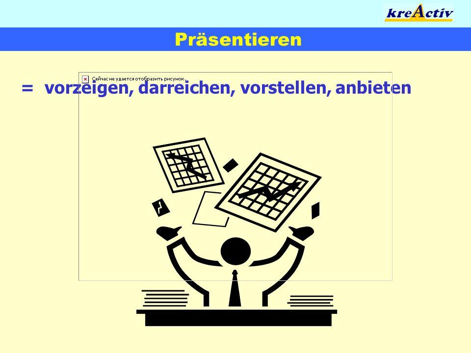 Präsentieren = vorzeigen, darreichen, vorstellen, anbieten