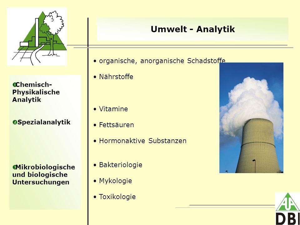 Chemisch- Physikalische Analytik Spezialanalytik Mikrobiologische und biologische Untersuchungen Umwelt - Analytik organische, anorganische Schadstoff