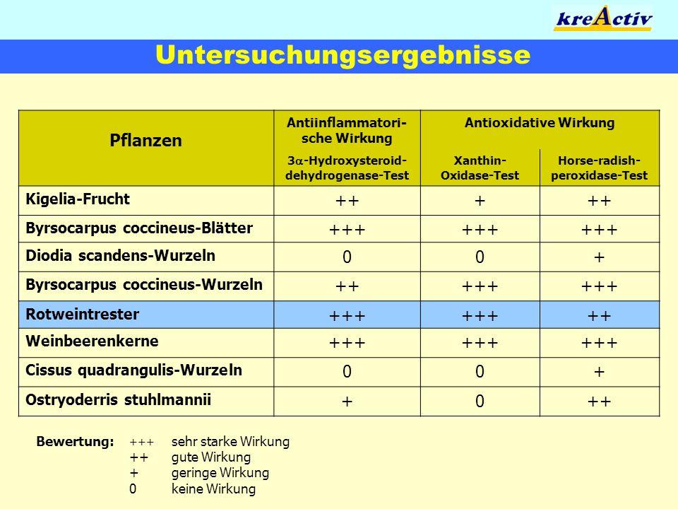 Untersuchungsergebnisse Pflanzen Antiinflammatori- sche Wirkung Antioxidative Wirkung 3 -Hydroxysteroid- dehydrogenase-Test Xanthin- Oxidase-Test Hors