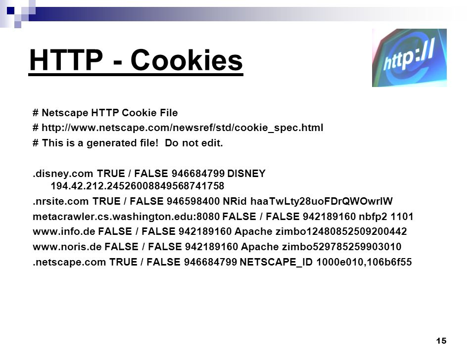 15 HTTP - Cookies # Netscape HTTP Cookie File # http://www.netscape.com/newsref/std/cookie_spec.html # This is a generated file.