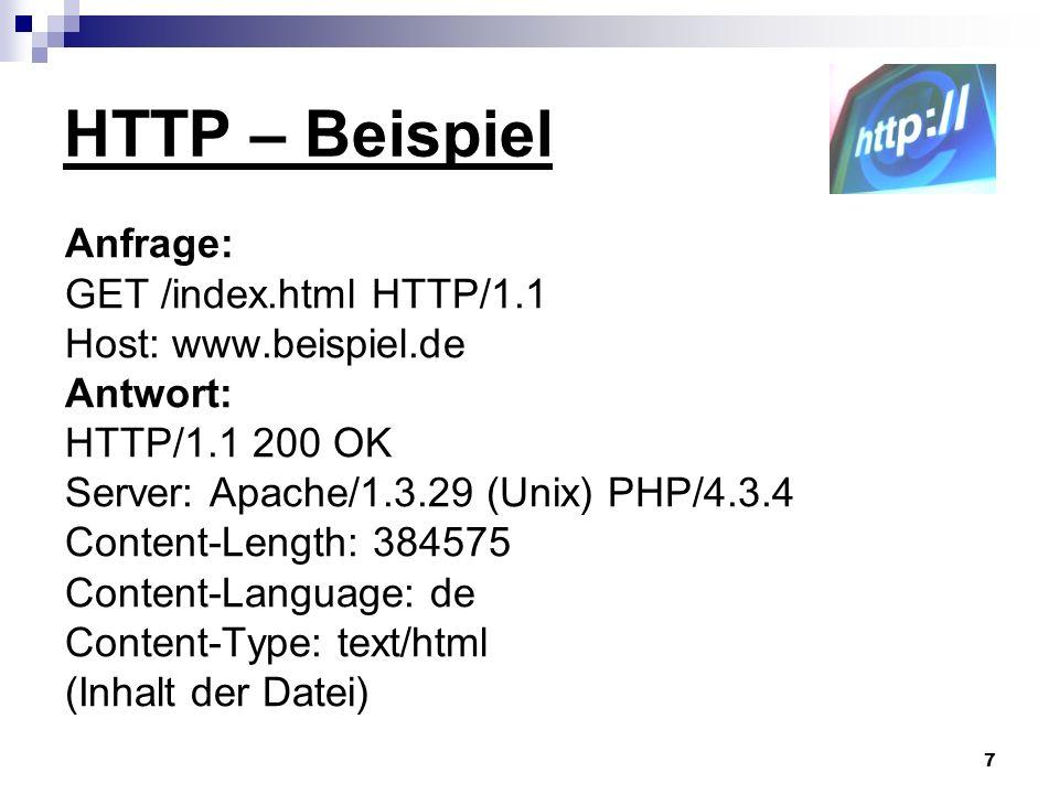 8 HTTP - Protokollversionen HTTP1.0 Nach jeder Anfrage bzw.
