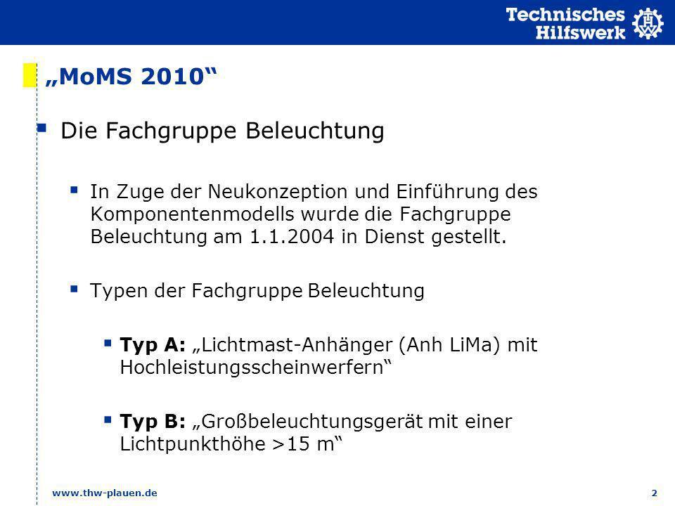 2 www.thw-plauen.de MoMS 2010 Die Fachgruppe Beleuchtung In Zuge der Neukonzeption und Einführung des Komponentenmodells wurde die Fachgruppe Beleucht