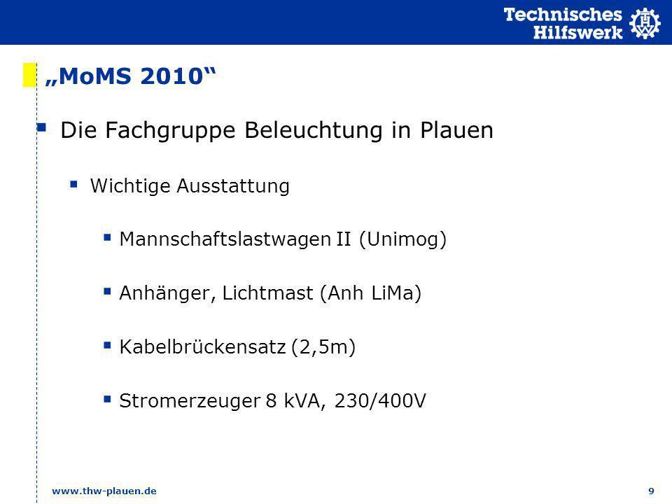 9 www.thw-plauen.de MoMS 2010 Die Fachgruppe Beleuchtung in Plauen Wichtige Ausstattung Mannschaftslastwagen II (Unimog) Anhänger, Lichtmast (Anh LiMa