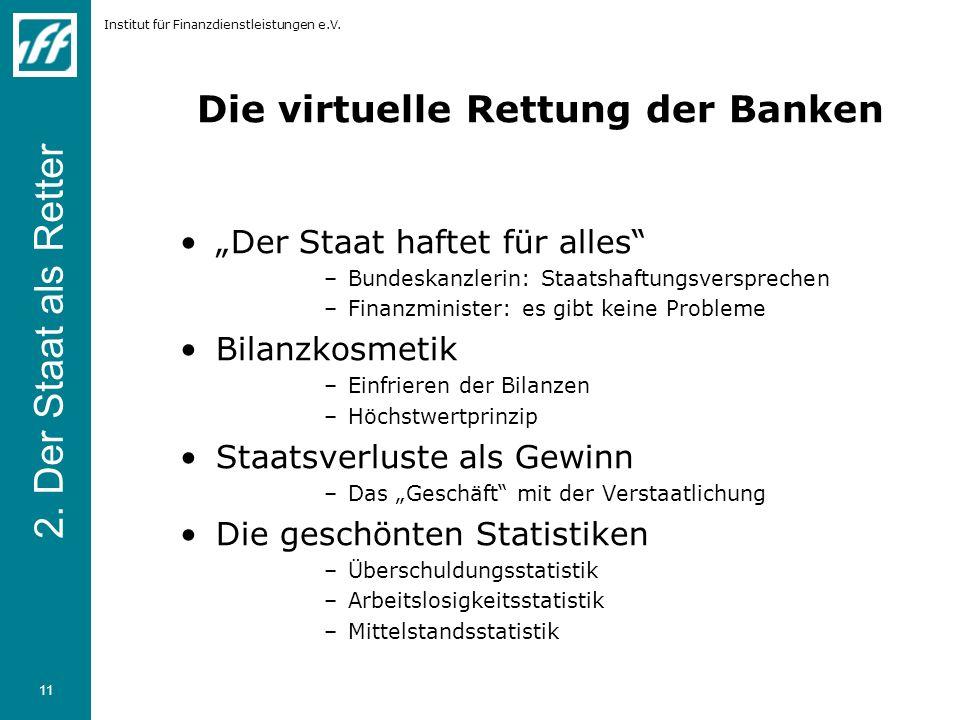Institut für Finanzdienstleistungen e.V. 11 Die virtuelle Rettung der Banken Der Staat haftet für alles –Bundeskanzlerin: Staatshaftungsversprechen –F