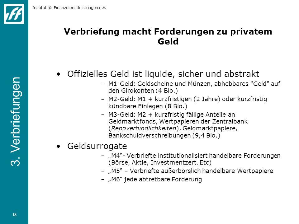 Institut für Finanzdienstleistungen e.V. 18 Verbriefung macht Forderungen zu privatem Geld Offizielles Geld ist liquide, sicher und abstrakt –M1-Geld: