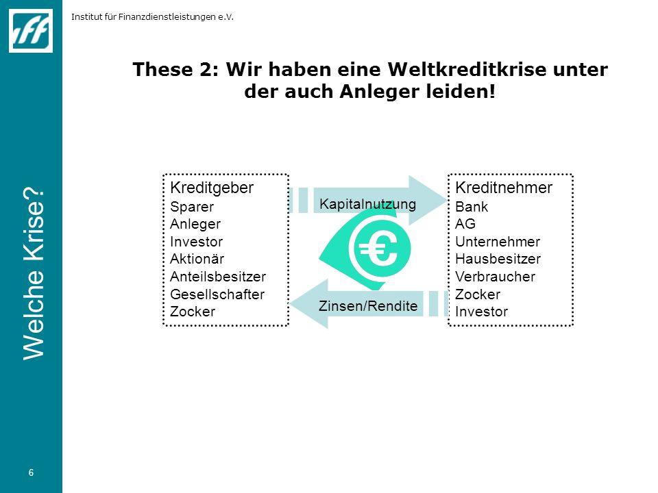 Institut für Finanzdienstleistungen e.V. 6 These 2: Wir haben eine Weltkreditkrise unter der auch Anleger leiden! Kreditgeber Sparer Anleger Investor