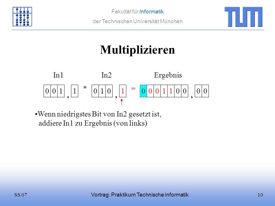 10SS 07 Fakultät für Informatik der Technischen Universität München Vortrag: Praktikum Technische Informatik Multiplizieren 0011 * 0101 = In1In2 Wenn